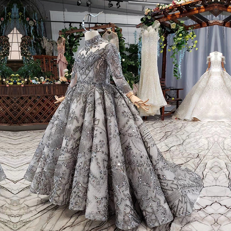 Image 2 - Luxury Arabic Kids Evening Ball Gown Long Sleeve Kaftan Beaded Wedding Party Little Bride Flower Girl Pageant Dress with TrainFlower Girl Dresses   -