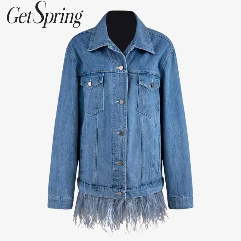 GetSpring Women Denim Jacket Long Sleeve Single Breasted Blue Jean Jackets Women Denim Coat Feather Stitching Jackets Coats 2019