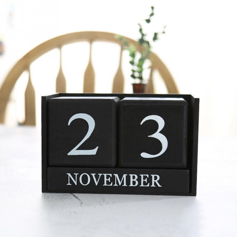 Hand-painting Wood Table Calendar DIY Wood Block Art Crafts Perpetual Desk Month Date Calendar Home Bedroom Office Decor image