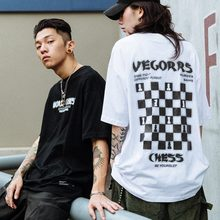 Summer Checkerboard Plaid Printing Short Sleeve 3M Reflective Gothic Couple T-Shirt Streetwear Hip Hop Oversized Men T Shirt(China)