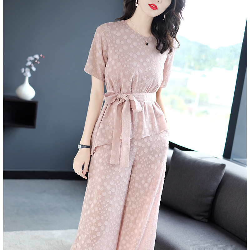 2019 Summer New Style Pink Casual Loose And Plus-sized Polka Dot Chiffon Shirt Hoodie Loose Pants Sub-Two-Piece Set Women's