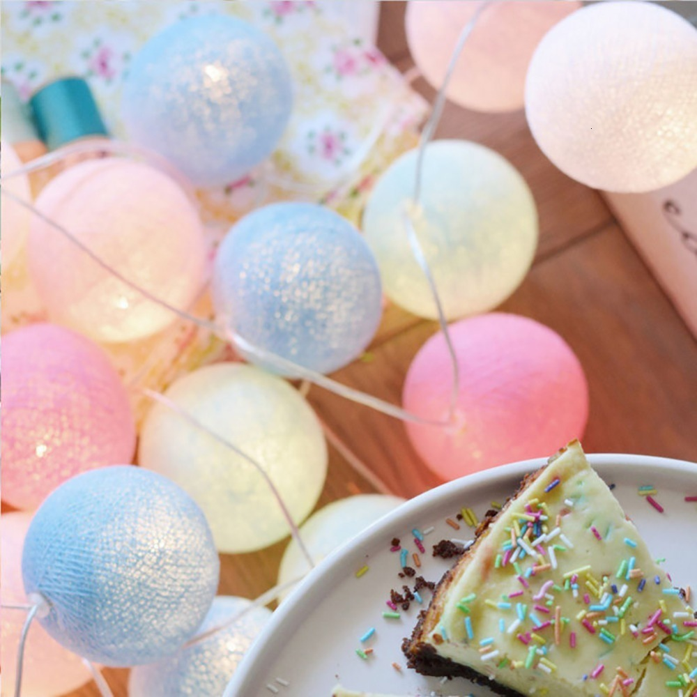 20LED Cotton Ball LED String Macaron Home Wedding Party Fairy Lights Decor 3M