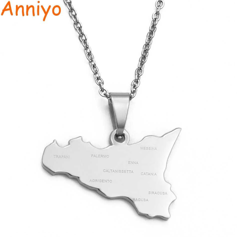 Anniyo włochy sycylia mapa wisiorek naszyjniki, stal nierdzewna włoski Sicilia biżuteria prezenty # 034821B
