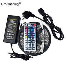 цена на 5050 IP65 Waterproof Flexible LED Strip Light 5M 60leds/m RGB LED Tape with 44 Keys Remote Controller +12V 3A Power Adapter Kit