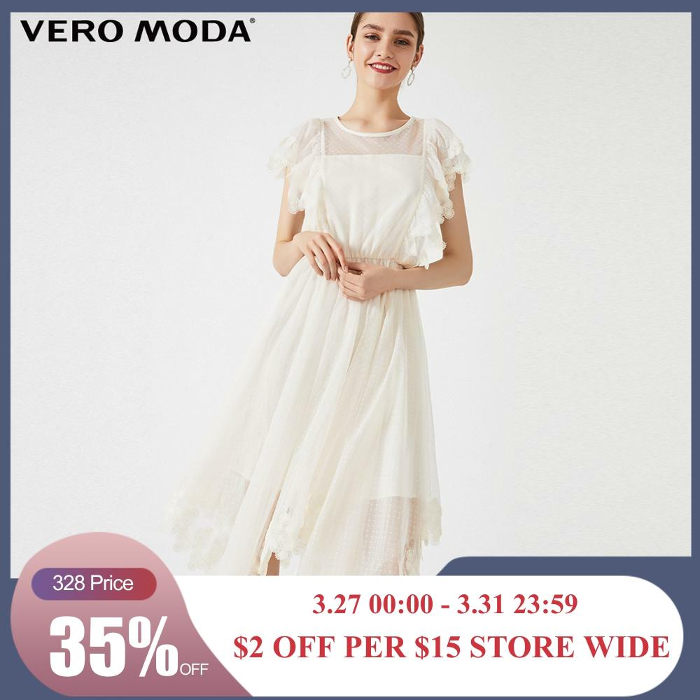 Vero Moda Women's Polka Dots Gauzy Embroidered Party Dress | 31927B571
