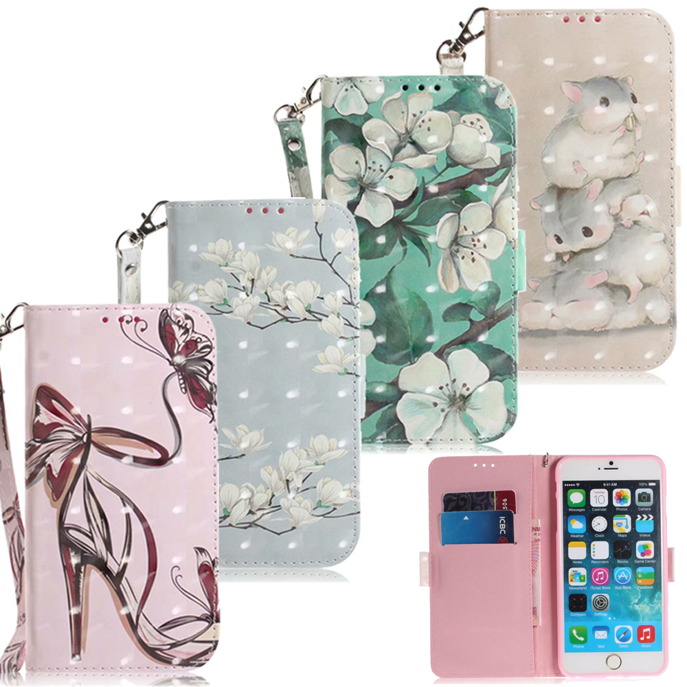 3D Blume Leder Brieftasche Fällen Für <font><b>iPhone</b></font> 11 Pro <font><b>XS</b></font> Max XR <font><b>X</b></font> Fall <font><b>iPhone</b></font> 8 7 6 6S plus 5S iPhone11 Flip Abdeckung Cartoon Telefon Tasche image