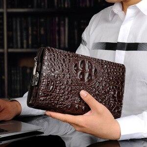 Image 1 - رجل محفظة جلدية حقيقية التمساح رجل حقيبة صغيرة مصمم الأعمال الذكور الهاتف محفظة جلد البقر carteras hombre billeteras