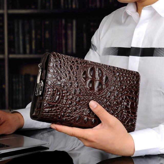 Portfel męski skórzany oryginalny Alligator męski kopertówka projektant biznes męski etui na telefon skóra bydlęca carteras hombre billeteras