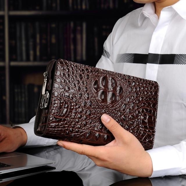 メンズ財布革本物のワニ男のクラッチバッグデザイナービジネス男性電話財布牛革carterasやつbilleteras