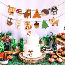 Birthday-Decoration-Supplies Animals-Happy-Birthday-Banner Woodland Kids Party for Safari-Animals