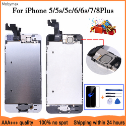 AAA + + + LCD montaje completo para iPhone 5 5C 5S SE 6 7 8 Plus pantalla táctil LCD digitalizador reemplazo + botón de inicio + cámara frontal