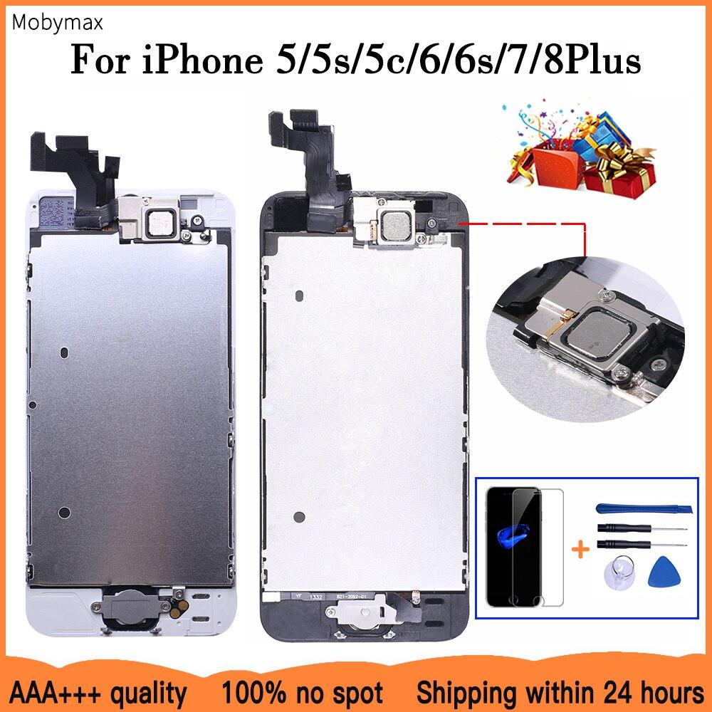 AAA + + + LCD tam montaj iPhone 5 5C 5S SE 6 7 8 artı dokunmatik cam ekran LCD sayısallaştırıcı değiştirme + ev düğmesi + ön kamera