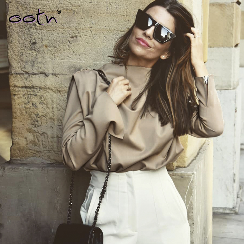 Khaki Woven Draped Collar Blouse Shirt Solid Office Shirt Ladies Top Streetwear 2020 Spring Long Sleeve Women Tops New Casual