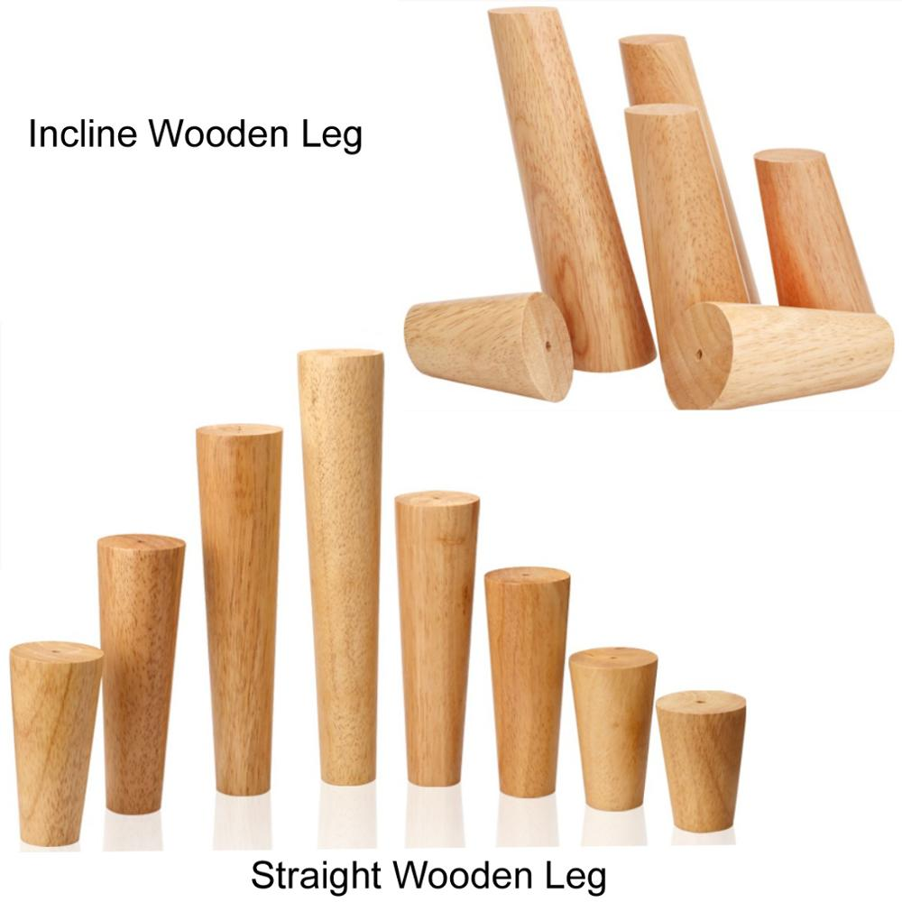 4pcs/lot Oak Solid Wooden Furniture Legs Feet TV Coffee Table Bed Sofa Level Feet With Metal Plates Cabinet Legs Multi-size B518