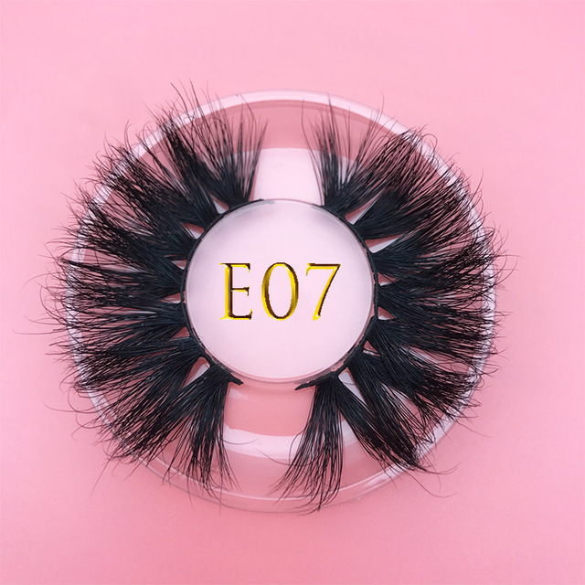 25mm E06 MIKIWI 100% handmade natural  thick  Eye lashes wispy makeup extention tools 3D mink hair volume soft false  eyelashes 3