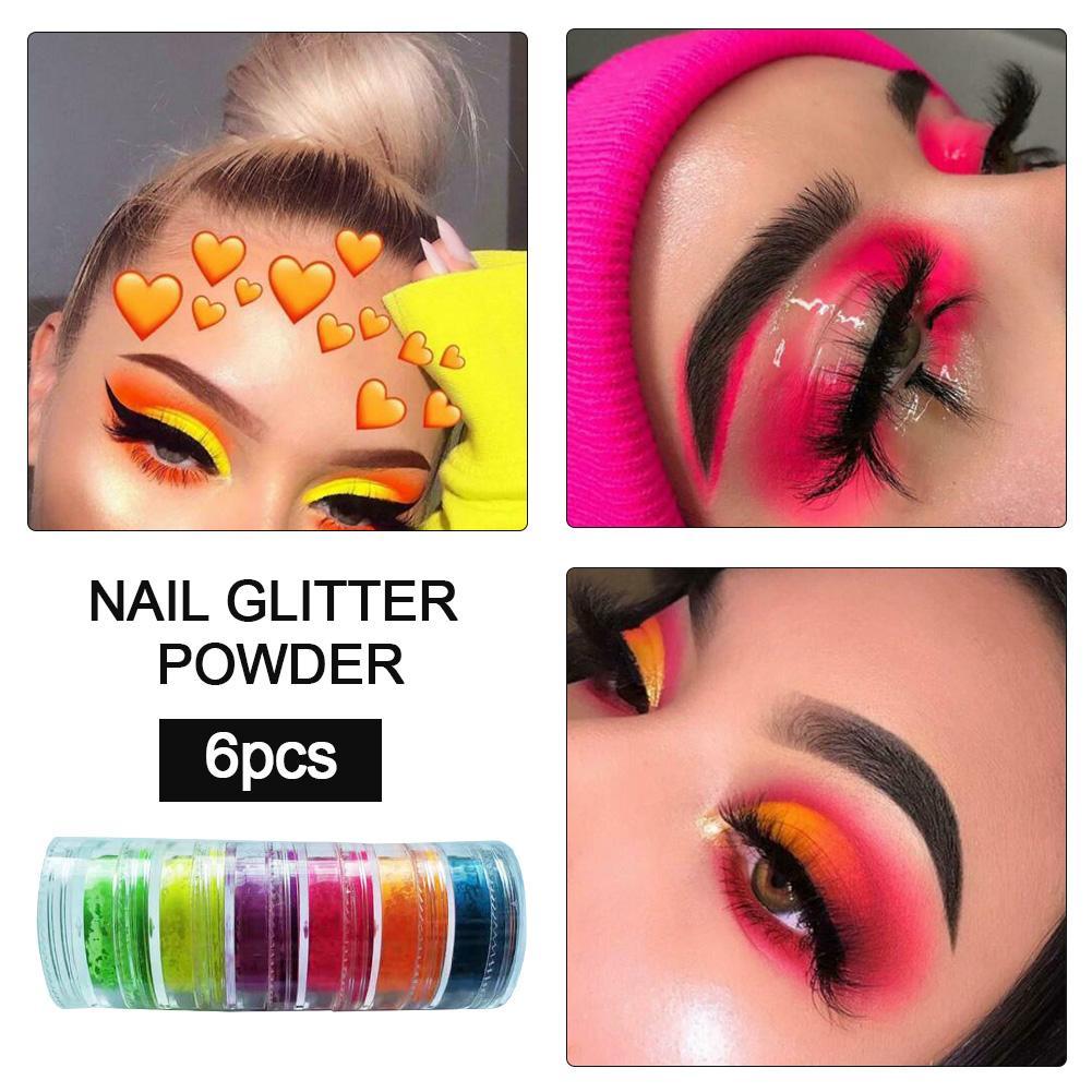 6 Colors Shimmer Eyeshadow Makeup Pigment Matte Eyeshadow Neon Powder Nail Powder Phosphor Gradient Dust Nail Art Sequin Powder