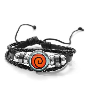 SONGDA Naruto Shippuden Anime Leather Bracelet Uchiha Sasuke Icon Glass Round Photo Handmade Beaded Bracelets Fashion Fans Gift 3