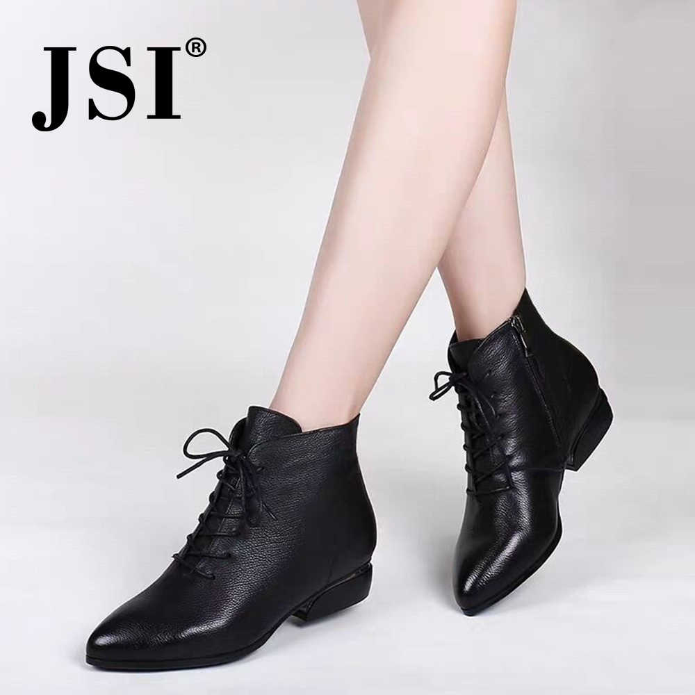 JSI çizmeler kadın sivri burun kare topuk düşük topuklu kış temel bayanlar ayakkabı düz basit Zip mikrofiber el yapımı kadın botları JD1