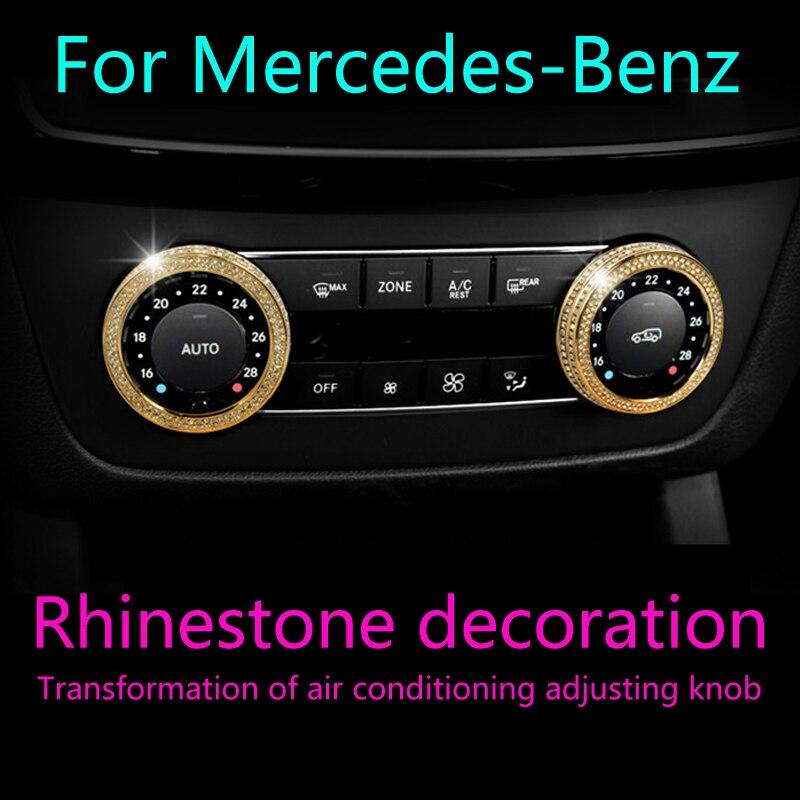 2 шт. для Mercedes Benz GL/E/K/S SL/K G/M серии ремонт интерьера автомобиля алмазная ручка кондиционера Кнопка украшения