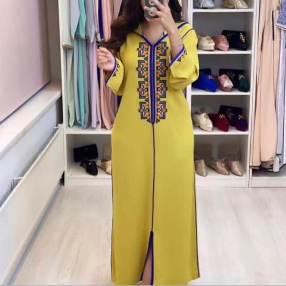 2021 Muslim Women's Dress Spring Summer Fashion Temperament Loose Casual Simple Elegant Printing With Hood Long Sleeve