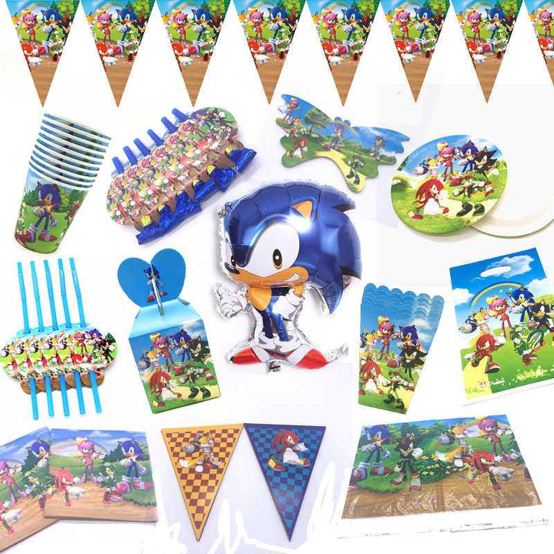 Sonic The Hedgehog Thema Birthday Party Decoraties Ballon Kopjes Vlag Banner Platen Feestartikelen Sonic Servet Gift Bags Supply