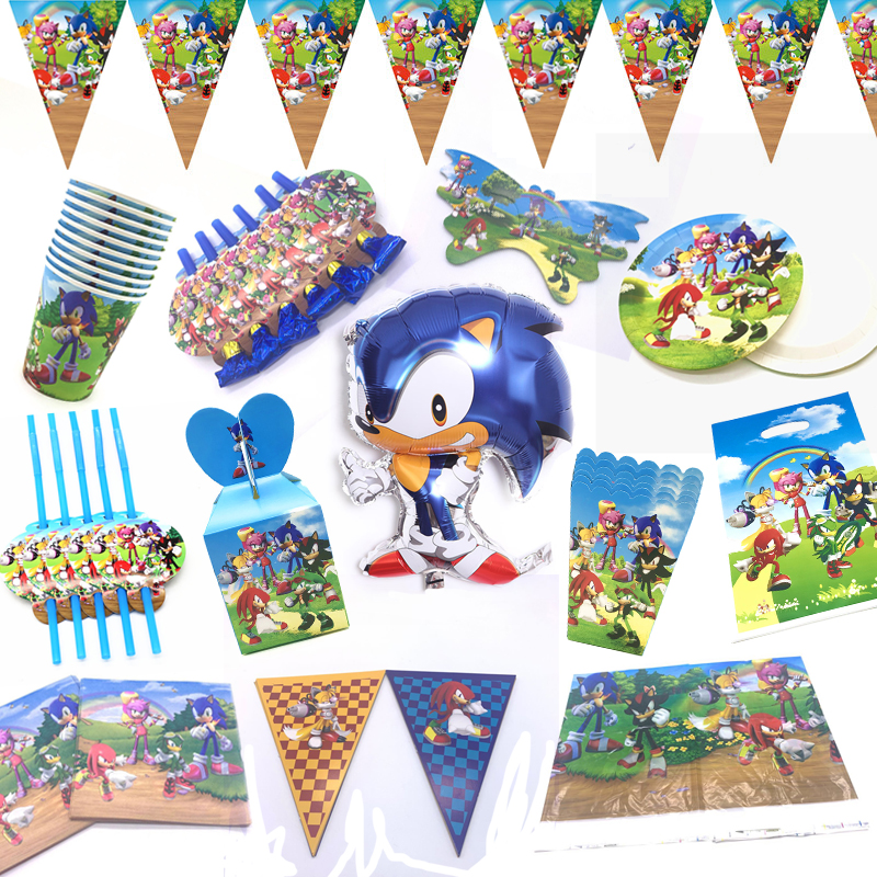 Sonic The Hedgehog Theme Birthday Party Decorations Balloon Cups Flag Banner Plates Party Supplies Sonic Napkin Gift Bags Supply Disposable Party Tableware Aliexpress