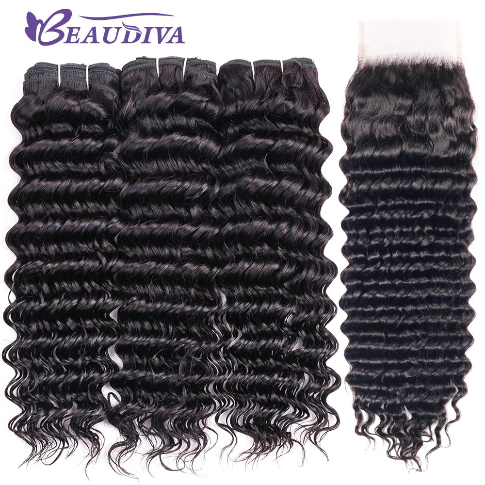Beaudiva Peruvian Hair Bundles with Closure Deep Wave Bundles With Closure Babyhair Pre plucked Remy Human Hair Weaves Extension-in 3/4 Bundles with Closure from Hair Extensions & Wigs    1