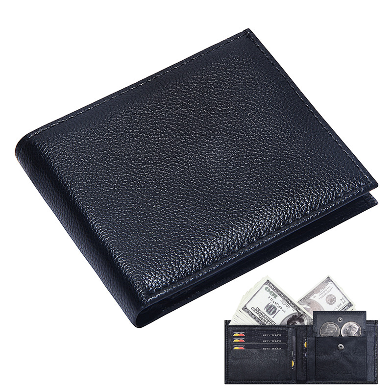 Genuine Leather Men Wallet With Coin Pocket Bifold Short Wallets Men Slim Purse Luxury Brand Business ID Credit Card Holder Male