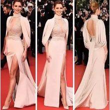 Celebrity Dress Jacket Carpet Evening Chiffon Lace High with Cloak Sleeve-Type Split