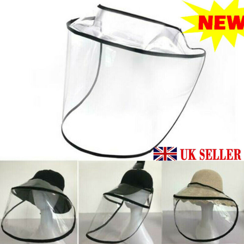 Hat-Mounted Transparent Mask Protective Cap Face Mask Plastic Anti-fog Saliva UK