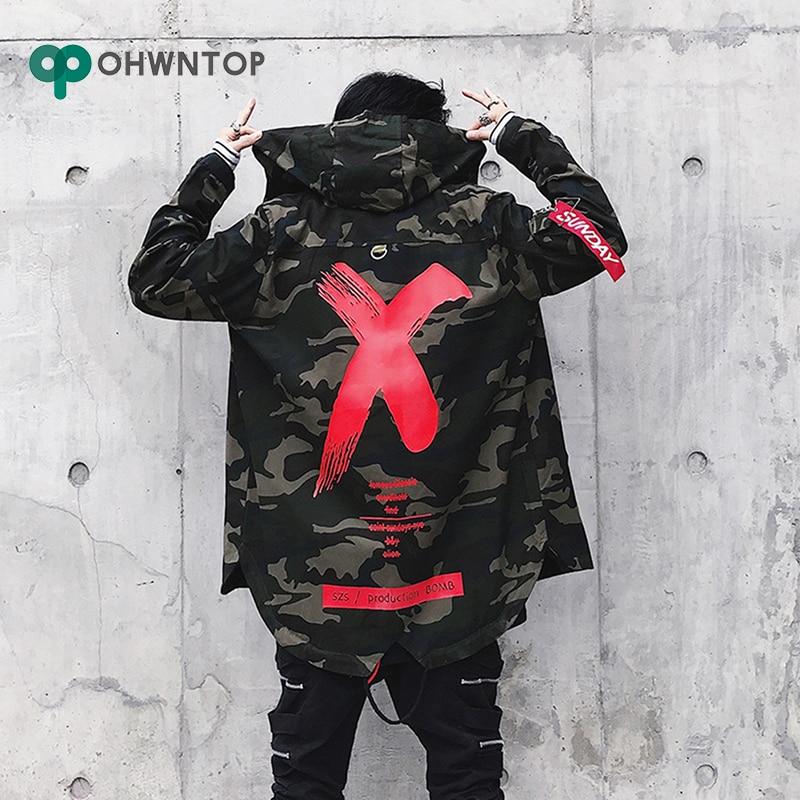 Men Camouflage Jacket High Street Ribbon Patchwork Cotton Men X Print Bomber Coat Autumn Harajuku Pilot Flight Jacket Streetwear