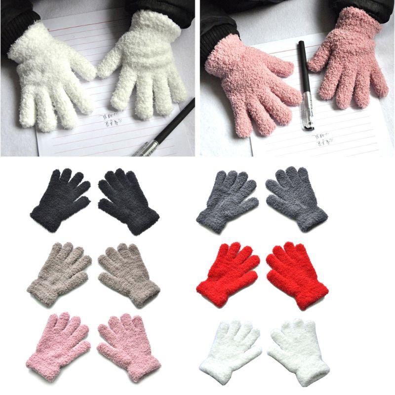 Winter Warme Kinder Handschuhe Kinder Stretch Fäustlinge Jungen Mädchen Volle Finger Handschuhe