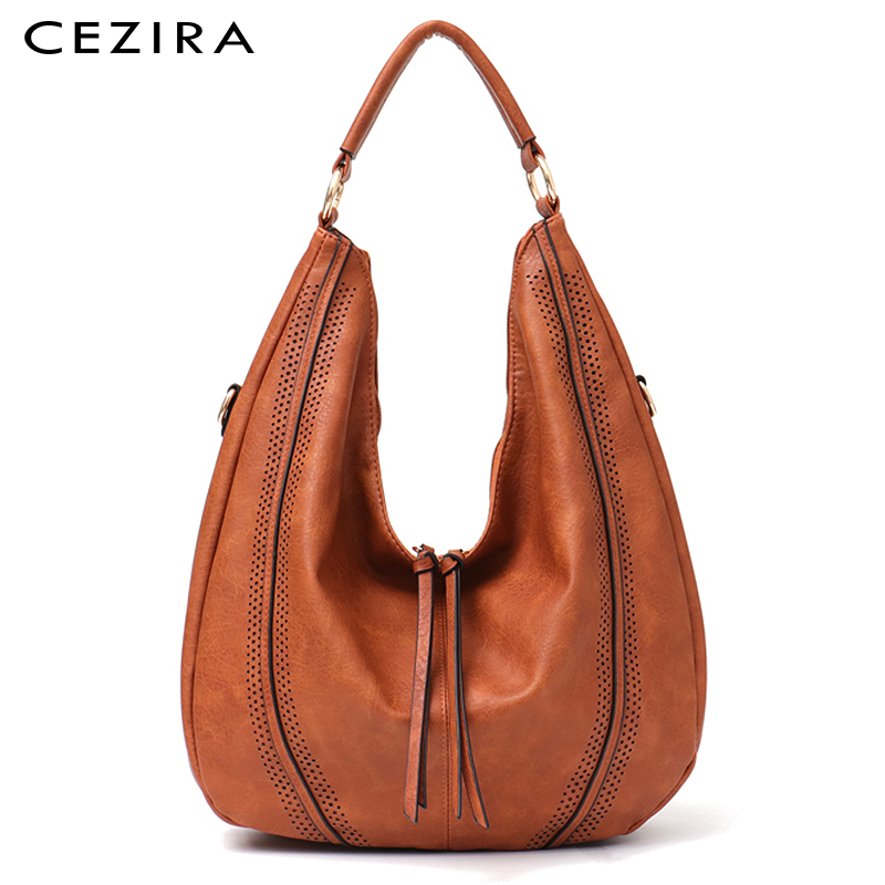 CEZIRA New Fashion Women Handbags Soft Ladies PU Leather Shoulder Bags Hollow Out Large Female Hobos Zipper Tassel Tote Bags