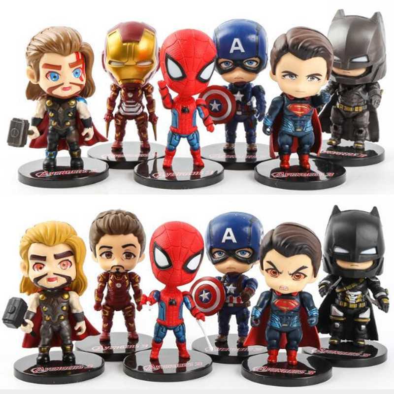 Creativo Per Bambini 6 pcs/ABset Giocattolo Avengers Super hero Spiderman Mini Iron Man Action PVC Figure Modello bambole Giocattolo fatto A mano giocattoli regali