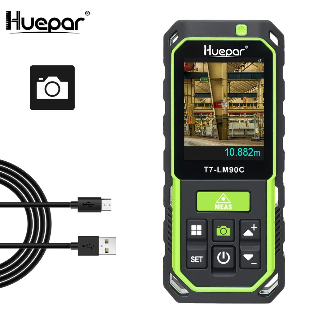 Huepar 90M Laser Distance Meter with Camera 2X 4X Zoom High Accuracy Rechargeable Laser Measure M In Ft with 17 Modes- LM90C