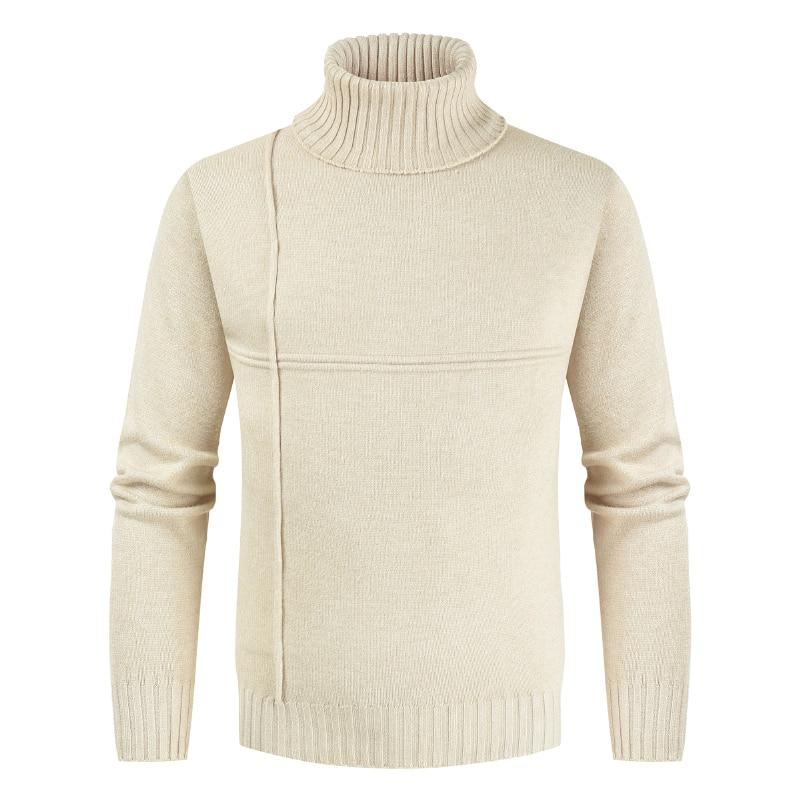 NEGIZBER 2019 Winter Off White Sweater Men Casual Striped Mens Pullovers Solid Slim Fit Warm Turtle Neck Sweater Men Pull