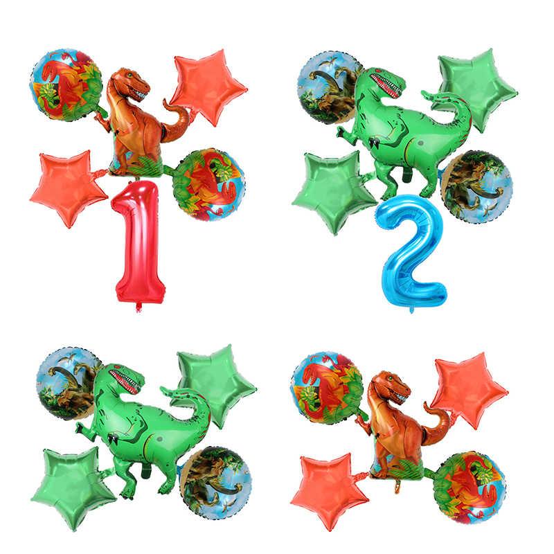 6 pçs/set Dinossauro Balão Foil 40 polegada vermelho azul número balão mundo jurássico tema Decoração animal do balão da Festa de Aniversário Crianças brinquedos