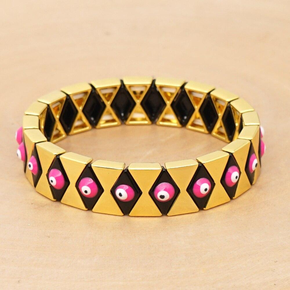 Shinus Bracelets For Women Mens Jewellery Evil Eye Bracelet Golden Enamel Tile Beads Accesorios Summer Bracciali Uomo Armband