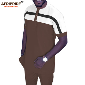African Men`s Tracksuit Short Sleeve Shirt and Pants Set Ankara Clothing Dashiki Sport Suit XS-6XL AFRIPRIDE A1916067