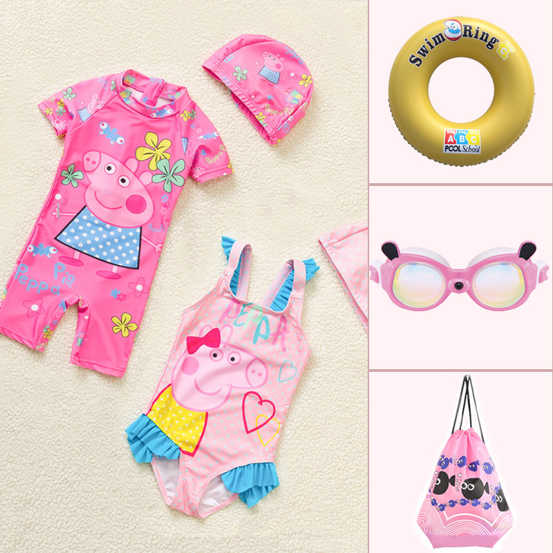 Children Boxer Baby One-piece Swimming Suit Women's Girls Cute Cartoon GIRL'S Seaside Bubble Hot Spring Chinlon Lens Kit