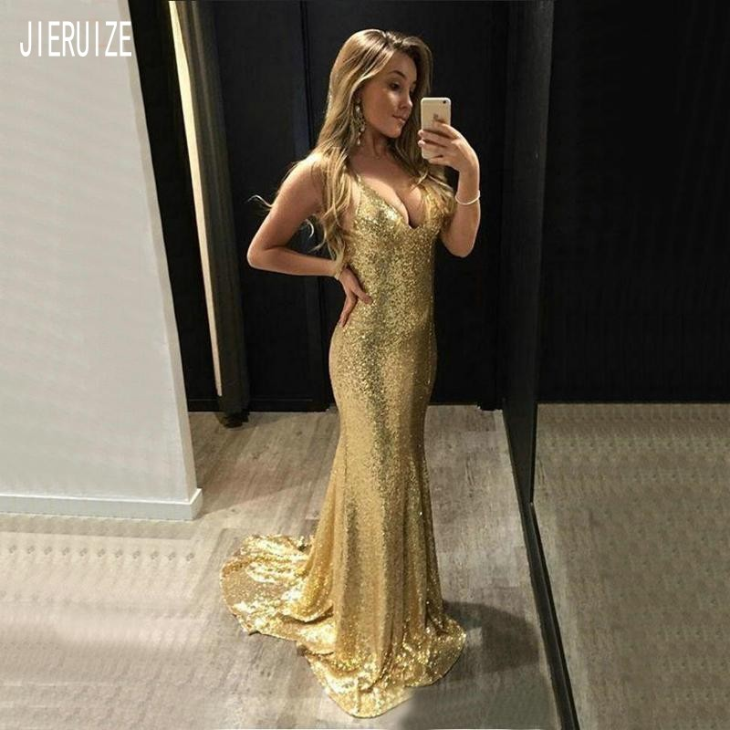 JIERUIZE Gold Mermaid Evening Dresses Deep V Neck Backless Sequin Prom Dresses Long Shiny Party Evening Gowns Robe De Mariee