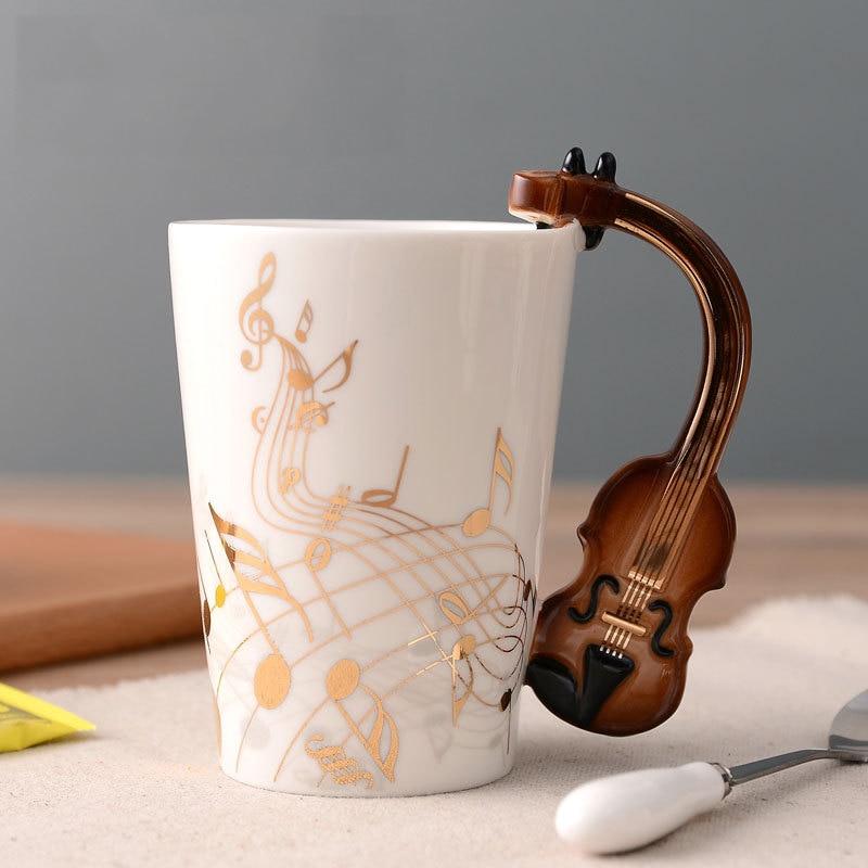 קרמיקה זהב מוסיקה הערה ספל כינור ידית קפה ספל גיטרה סגנון כוסות ספלי מתנה עבור אוהבי מוסיקה|ספלים|   - AliExpress