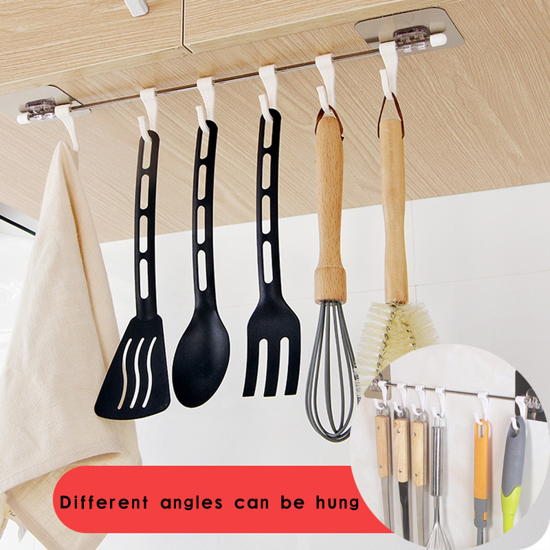 6 Hook Suction Cup Shelf Hooks Kitchen Gabgets Cupboard Home Organizer Storage Rack Pantry Chest Tools Towels Hanger Wardrobe