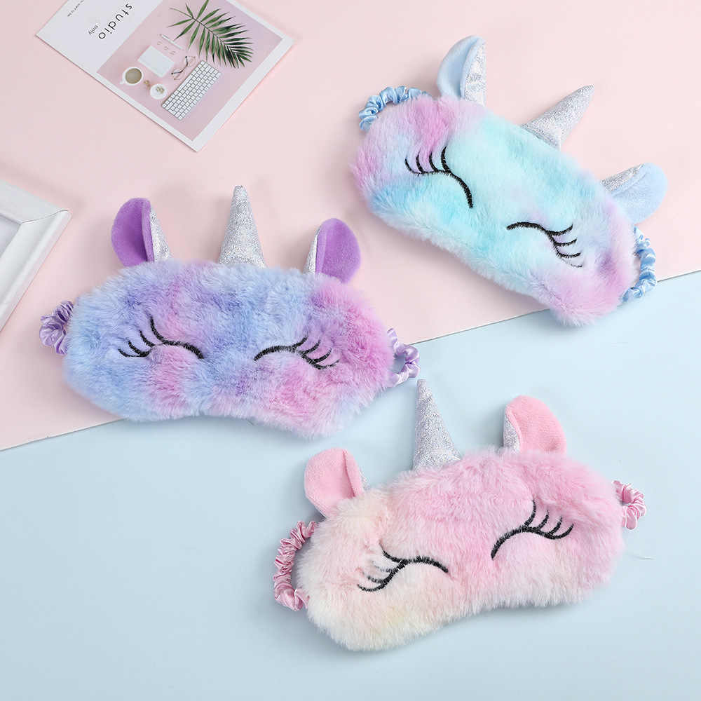 3D Cartoon Unicorn Eye Mask Variety Sleeping Mask Plush Eye Shade Cover Eyeshade Relax Mask Suitable For Travel Home Party Gifts
