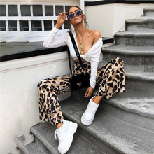 Fashion Women High Waist Flared Wide Leg Pants Leopard Print Trousers Office Lady Work Pants Casual Palazzo Long Trousers