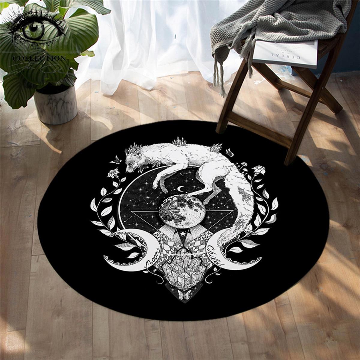 Круглый ковер с изображением волка Галактики от Пикси холодного искусства, детские черные коврики для спальни, напольный коврик с изображе...