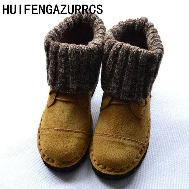 Huifengazurrcs 새로운 진짜 가죽 부츠, 편안한 부드러운 발바닥 여성 단식 부츠, 스웨터 수제 학교 바람 마틴 부츠-에서앵클 부츠부터 신발 의  그룹 1