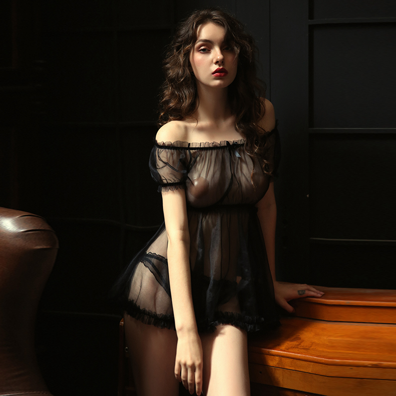 Sexy Women's Nightshirt Night Dress Sleepwear Nightwear Lace Nightgown Lingerie Erotic Ropa Sexy Young Girl Honeymoon Night Gown
