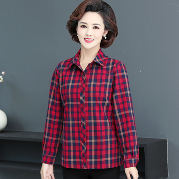 Middle Aged Women Plaid Cotton Shirt Red Purple Checked Pattern Top Female Long Sleeve Turn Down Collar Shirts Plus Size Clothes girls plaid blouse 2019 spring autumn turn down collar teenager shirts cotton shirts casual clothes child kids long sleeve 4 13t