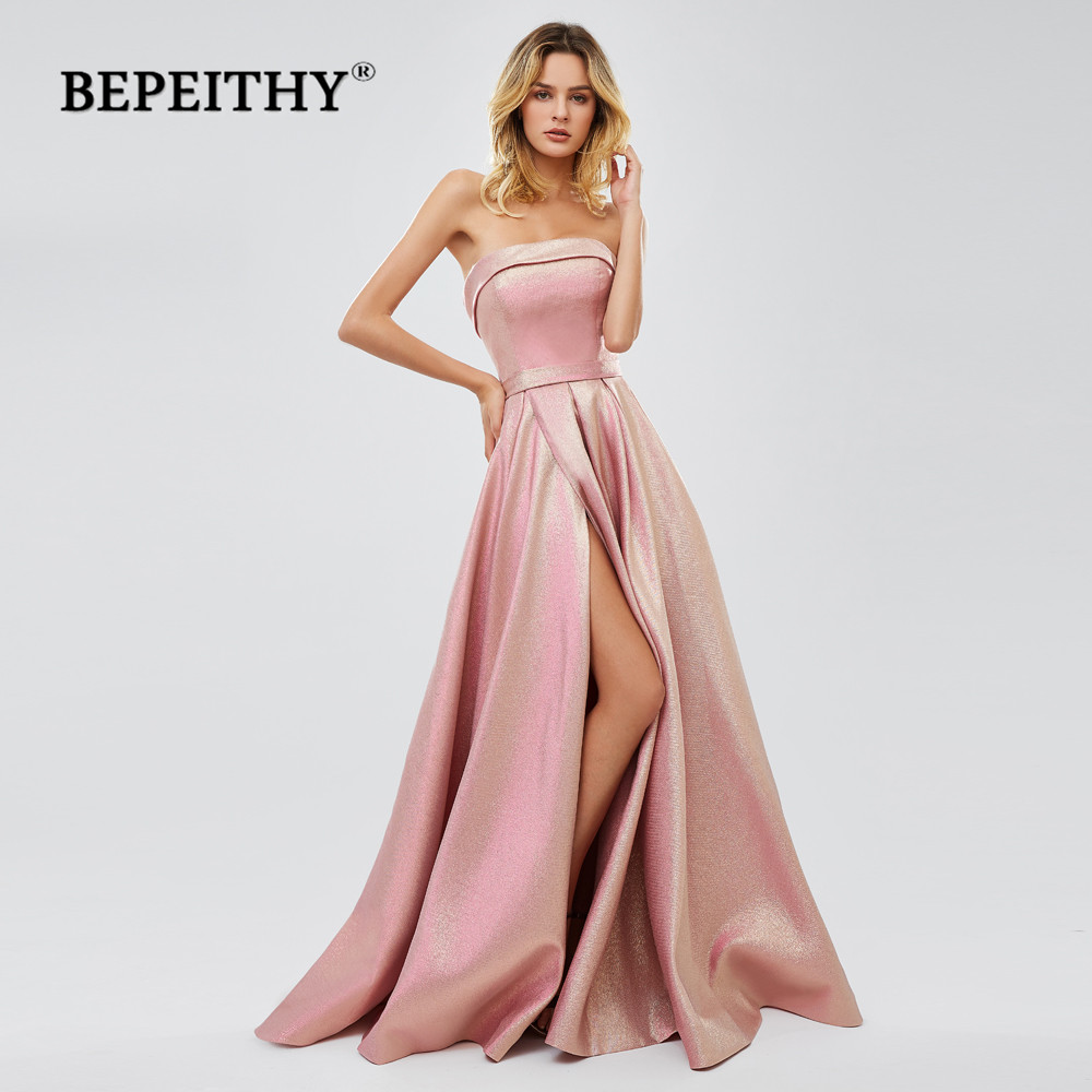 BEPEITHY Glitter Long Evening Dresses 2020 вечернее платье Sexy Strapless Sparkle Prom Party Dresses Abendkleider